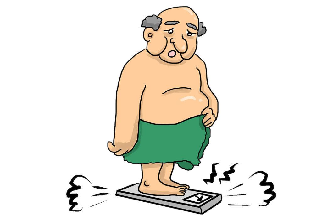 Tjock man på våg, mäta fettprocent